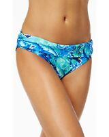 Ralph Lauren Womens Exotic Paisley Shirred Banded Hipster Bikini Bottom 10 Blue