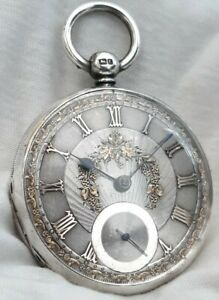 Fusee Pocket Watch Silver & Gold Dial. (FULL WORK.ORDER) *1860* London Mk.