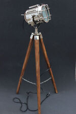 Vintage Nautical Industrial Chrome Floor Lamp With Wooden Tripod Modern Lamp E27