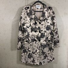 Max Mara Women's Size XXL Double Breasted Trench Coat Brown Floral