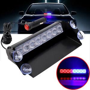 Red & Blue 8 LED Car Dash Strobe Flash Light Emergency Police Warning Lamp x 1