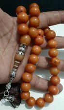 Antique Bakelite yellow amber color PRAYER Tasbih BEADS 82 Gram silver imam
