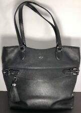 Ralph Lauren Black Label Black Hand Bag Purse W/ Tassel Zipper
