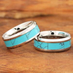 8mm Stainless Steel Turquoise Ring Beveled Edge Mens ring wedding ring SLR6201