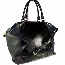 BURBERRY ~ RARE black leather TOTE extra large Hobo bag / messenger ~ AUTHENTIC