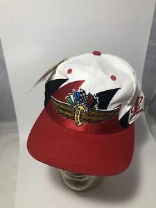 Indianapolis Motor Speedway Logo Athletic Double Sharktooth Snapback Cap Hat Vtg