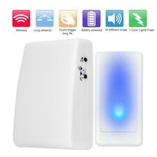 Wireless Doorbell 7 Color Lights Flash + Music Doorbell for Elderly/Deaf Men New