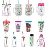 Kids Childrens Drinking Cup Glass Jar with Straw Water Bottle Hot Cold Drinks