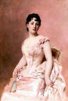 Nice Oil painting noble woman portrait Cabane Edouard Lady in Pink Hand painted