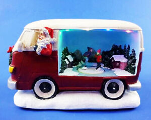 Festive Bo Lit Camper Van With Christmas Scene 21cm