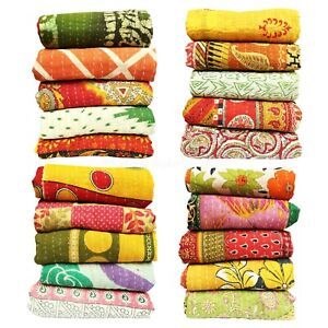 Decorative Quilt Reversible Blanket 5p Indian Bedding Bedspread Coverlet Blanket