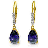 Natural Sapphire Gemstones & Diamonds Dangles Leverback Earrings 14K. Solid Gold