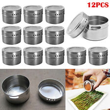 12pcs Magnetic Stainless Steel Spice Pot Herb Tin Jar Storage Holder Cook Stand