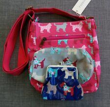 Dog Oil Cloth Bag Purse Pencil Case Messenger Makeup School pink blue job lot