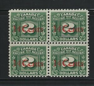 CANADA - #FX121 - 14c on $2 GREEN THREE LEAF MINT BLOCK OF 4 MNH MLH