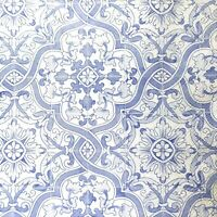 N739# 3 x Single Paper Napkins For Decoupage Tissue Blue White Ornament Pattern