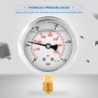 0-250Bar Metall Hydraulik  0-3750PSI G1/4 63mmWasserdruckanzeige Manometer