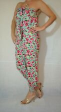 Women Green Floral Playsuit Strapless Pull On Viscose Fluid  Size 10