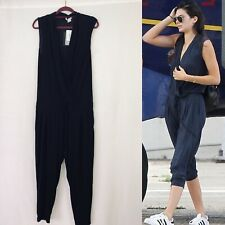 BNWT Helmut Lang Feather Jersey Black Jumpsuit Size M Drawstring Waist Pockets