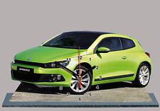 MODEL CARS, VOLKSWAGEN SCIROCCO -04, 11,8x 7,8 inches  aluminium with Clock