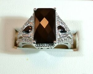 THAI BLACK SPINEL & CAMBODIAN ZIRCONS PLATINUM OVER STERLING SILVER RING SIZE 9