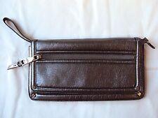 Dana Buchman Clutch Envelope Hangbag Purse Wristlet Silver Metallic Faux Leather