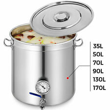 35-170L Stainless Steel Stock Pot W/Thermometer Brew Kettle Cookware Cooking Pot