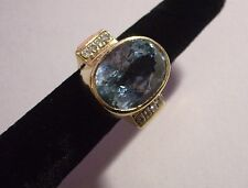 Vintage 14k yg ring blue topaz diamonds elegant stunning estate