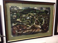 Jay J Mcvicker Original Watercolor Painting The Road 1947 Oklahoma Regionalist