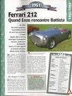 VOITURE FERRARI 212 INTER FICHE TECHNIQUE AUTO 1951 COLLECTION CAR