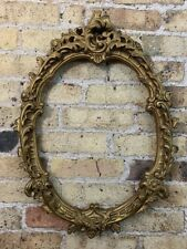 Antique Rococo Oval Gold Gilt & Gesso Ornate Detail Wooden Picture Frame Medium