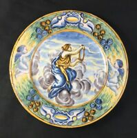 """🔷 Antique Castelli Italy 9 5/8"""" Plate Charger Faience Majolica Maiolica 2 of 3"""