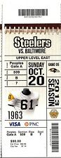 2013 PITTSBURGH STEELERS VS BALTIMORE RAVENS TICKET STUB 10/20/13