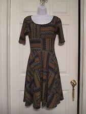 Lularoe Nicole navy & yellow gold aztec dress Size S NEW