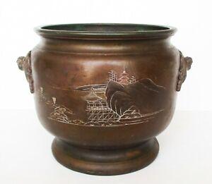 Japan Antiques - Late 19th C, Original Meiji Period, Large Bronze Pot  3.28kg