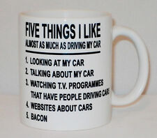 5 Things I Like As Much As Driving My Car Mug Any Name Taxi Van Bacon Five Cup