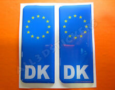 2x3D Sticker Resin Domed Euro DENMARK Number Plate Car Badge Adhesive Decal