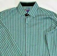 $198 Robert Graham Mens Shirt Blue & Green Ballantine Long Sleeved Size XLarge