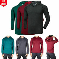 Mens Polyester Hoodie Long Sleeve Shirts Sweatshirt Gym Muscle Tops T-shirt USA