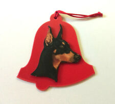 Ornate HEART PENDANT Tibetan Silver DOBERMAN PINSCHER DOG Red Crop Ears Dobie