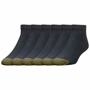 Gold Toe Men's Cotton Quarter Athletic Sock, Black, Shoe Size: 6-12.5, 6 Pack