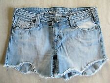 Jr. Women's Sz 3 INDUSTRIAL COTTON Denim Jean Shorts Distressed Faded Frayed EUC