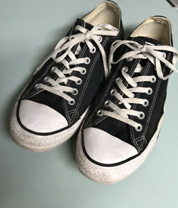 Converse All-Star Low Top Sneakers Black And White Mens Size 12