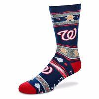Washington Nationals MLB For Bare Feet Men's Ugly Christmas Socks-SZ L