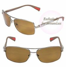 PRADA MINIMAL CONCEPT Square Men Sunglasses SPS 50O 5AV-5Y1 Silver Metal Brown