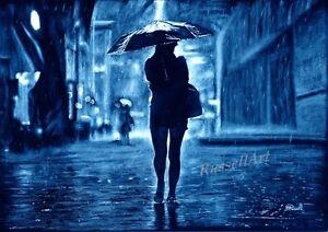 A4 A3 A2 'Umbrella Girl' Paris London New York Art Print of drawing RussellArt