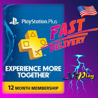 Sony PlayStation Plus 12 Months PSN 365 Days 1 Year Membership Suscription PS US