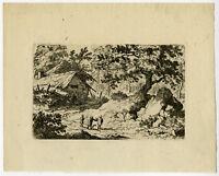 Antique Print-LANDSCAPE-NORWAY-RUINOUS COTTAGE-Van Everdingen-ca. 1650