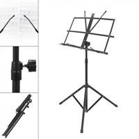Adjustable Music Stand Orchestral Sheet Holder Tripod Base Foldable + Case Black