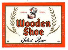 Unused Wooden Shoe Paper Beer Bottle Label - Minster, Ohio OH.